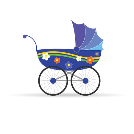 baby carriage in blue color vector illustration Vector