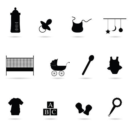 caballo bebe: silueta del beb� del icono del vector en el fondo blanco Vectores