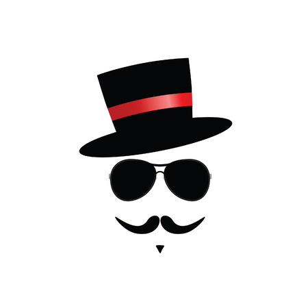 tophat: face with mustache color vector illustration Illustration