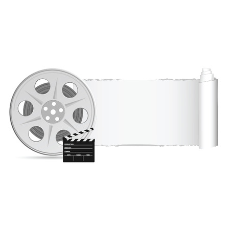 clacker: film tape with tearing paper color vector illustration Illustration