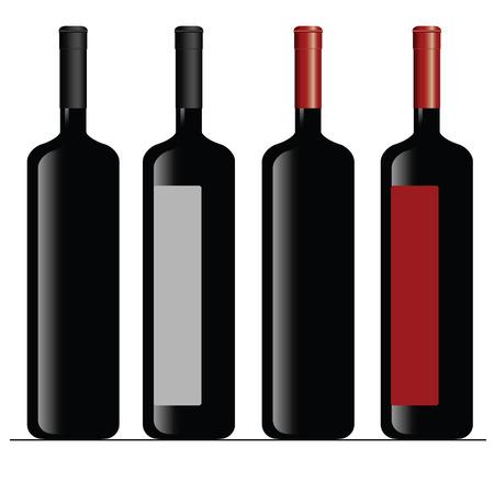 bottle of wine color vector illustration