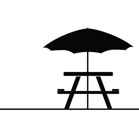 kamperen en picknicktafel pictogram vector illustratie