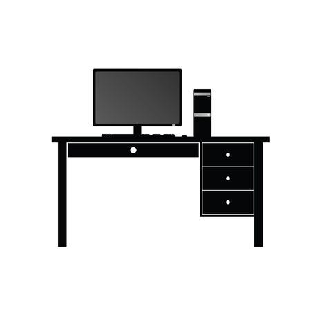 computer desk: computer and desk for computer vector illustration Illustration