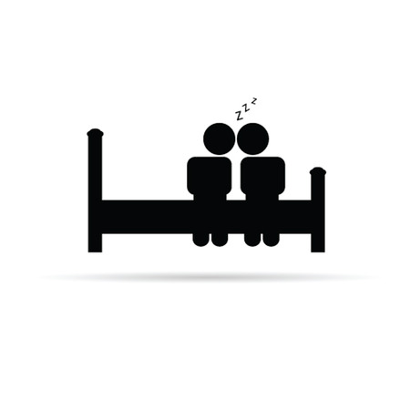 couple on bed icon vector illustration on a white Vector