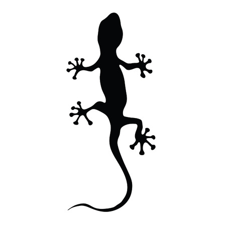 gecko in black silhouette art vector illustration Vector