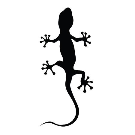 gecko in black silhouette art vector illustration Illustration