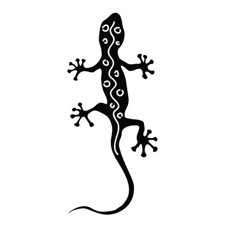 gecko in black silhouette with white line Illustration
