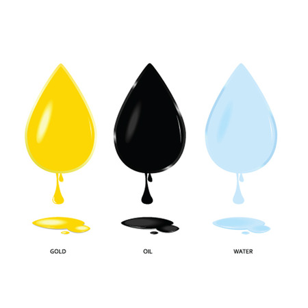 energy ranking: gold oil and water drop color vector illustration on a white Illustration