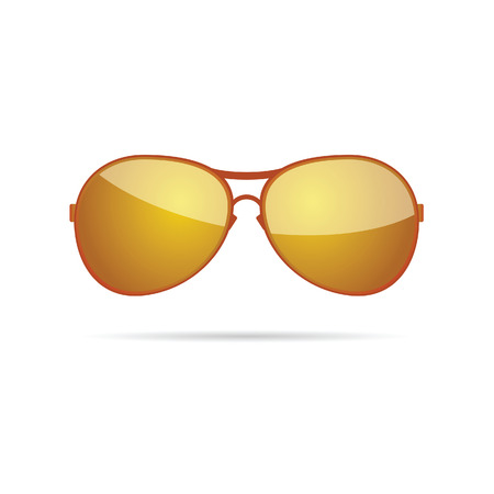 protecting spectacles: gold sunglasses classic color vector Illustration