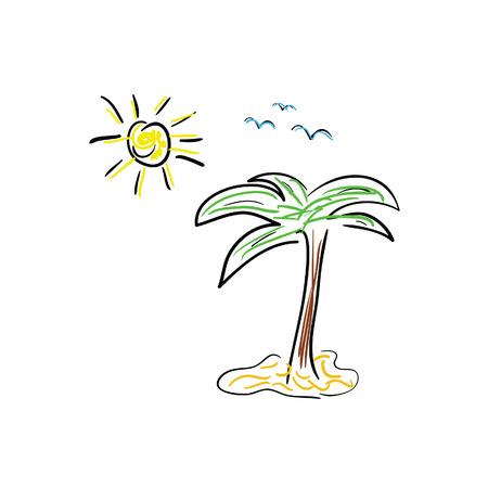 palm icon cartoon color vector illustration Illustration