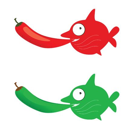 peper: red and green fish with chillies vector illustration