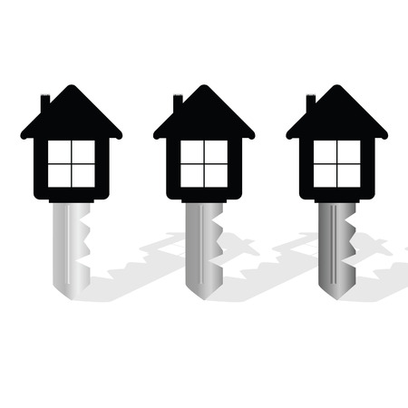 key with house on it vector illustration Vettoriali