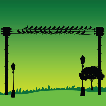 nature with sparrow and street lights vector Vector
