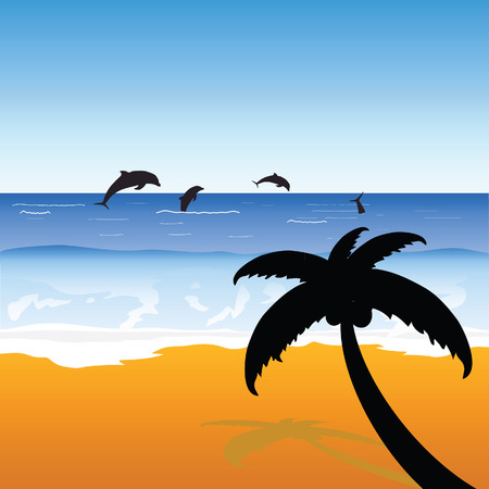 palm on the beach with dolphins color vector Vector