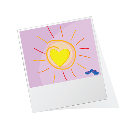 sun illustration: photo frame with sun illustration vector on a color