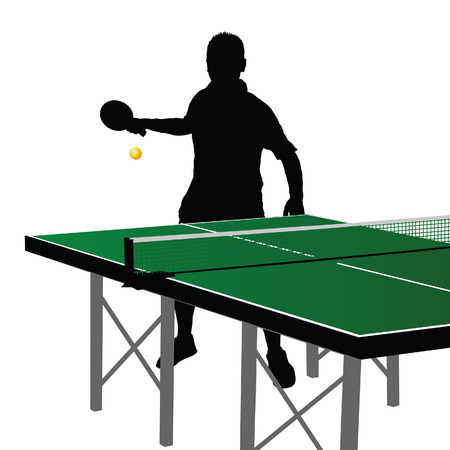 Table tennis  player silhouette eight on white background