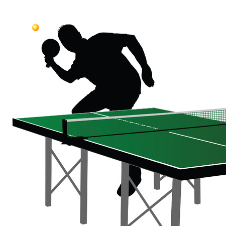 Table tennis  player silhouette five on white background Vector