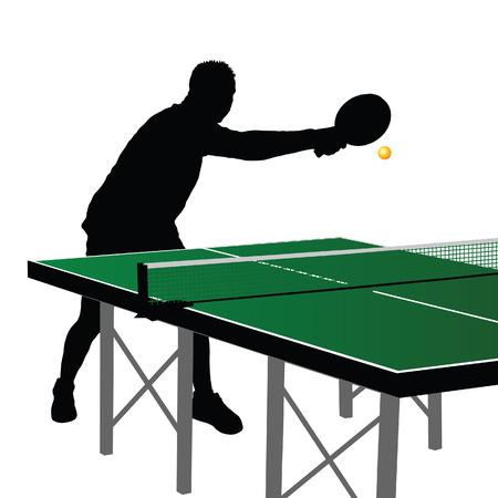 table tennis: Table tennis player silhouette six on white background