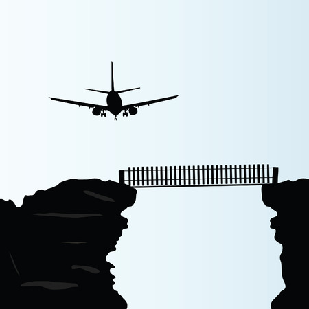 plane above the bridge on the cliff vector illustration Vector