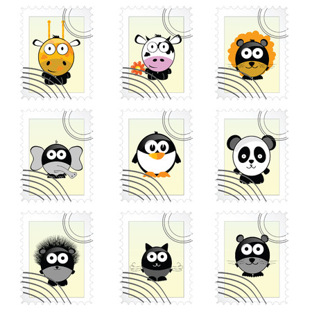 post mark with funny animals vector illustration Vector