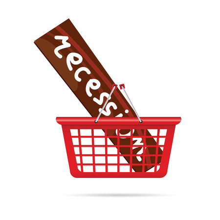 recession: recession in red basket vector illustration