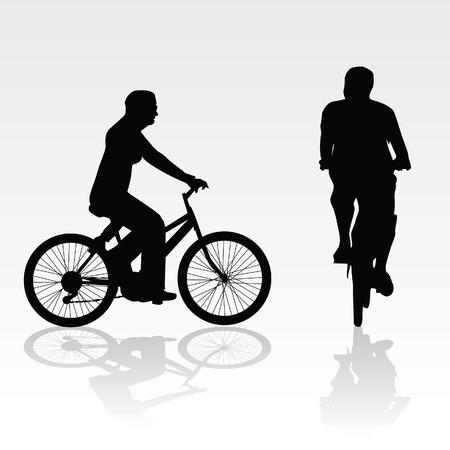 bike vector: recreaci�n en bicicleta vector ilustraci�n del arte de la silueta en blanco