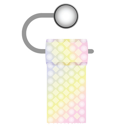 toilet roll: roll of toilet paper with on white background