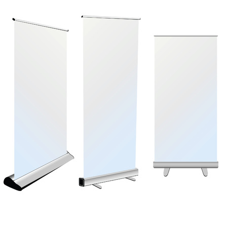 roll up banner art on white background