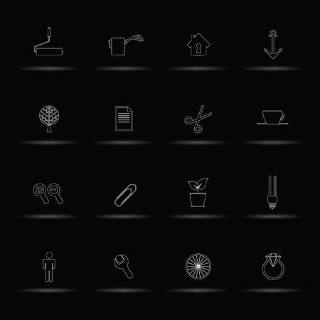 set icon white line vector illustration on black Vector