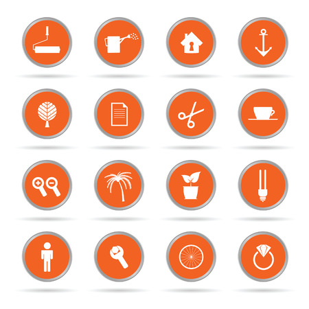 set of icon in orange circle vector illustration Vector