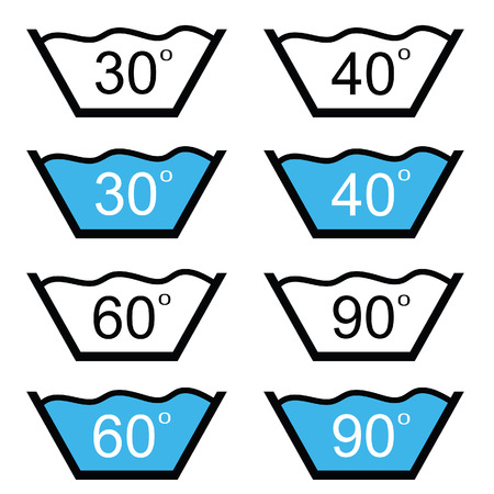 caution chemistry: set of washing sign vector illustration on white Illustration