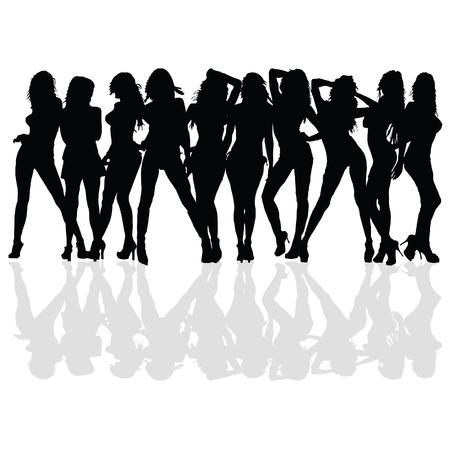 sexy en schoonheid meisje vector silhouet op een witte achtergrond Stock Illustratie