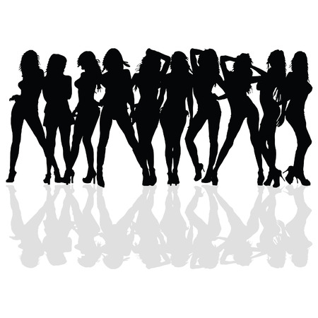 sexy and beauty girl vector silhouette on a white background