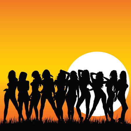 beauty girls: sexy and beauty girls and sunset vector illustration on a color background