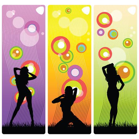 sexy en schoonheid meisjes vector silhouet illustratie op een achtergrond kleur