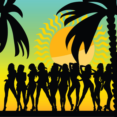 hot girl legs: sexy and hot girls and palms vector silhouette ilustration