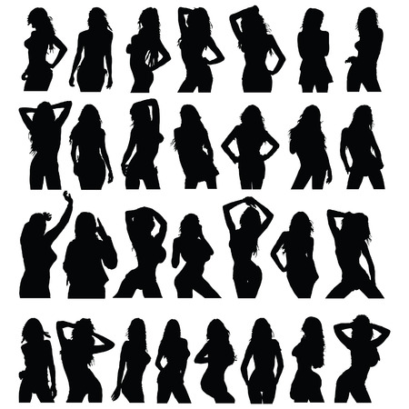 beauty girl pretty: sexy girl black silhouette set vector on white