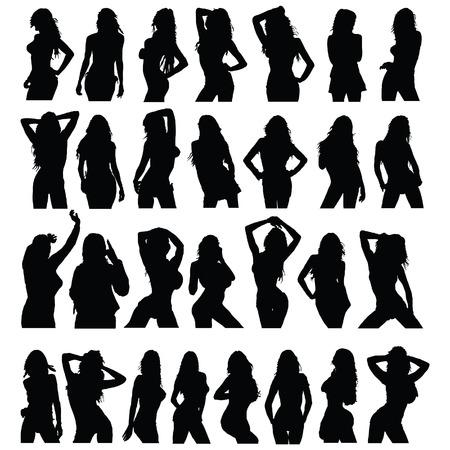 niñas: sexy girl negro silueta conjunto de vectores en blanco