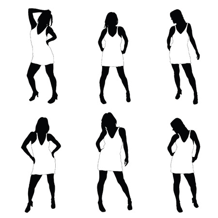 sexes: sexy girl in dress vector illustration