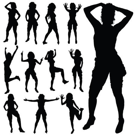 sexy meisje: sexy meisje poseren vector zwarte silhouet op wit