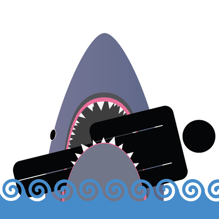shark icon color vector illustration Vector