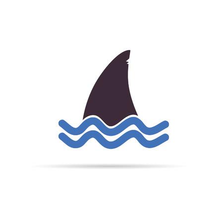 tiburon caricatura: color de tibur�n icono de ilustraci�n vectorial en blanco Vectores