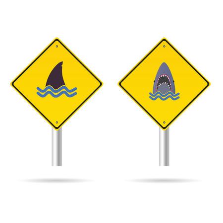 beach closed: shark yellow sign vector illustration on white