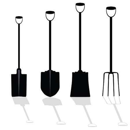 unearth: shovel art vector illustration on white background