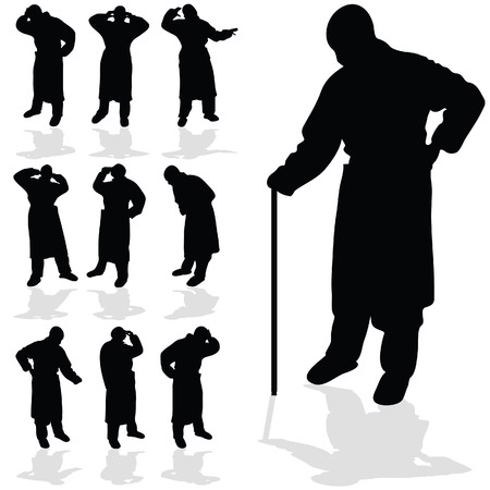majestic: sick man black silhouette on white background Illustration