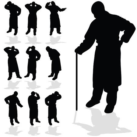 persona enferma: silueta del hombre negro enfermo en el fondo blanco