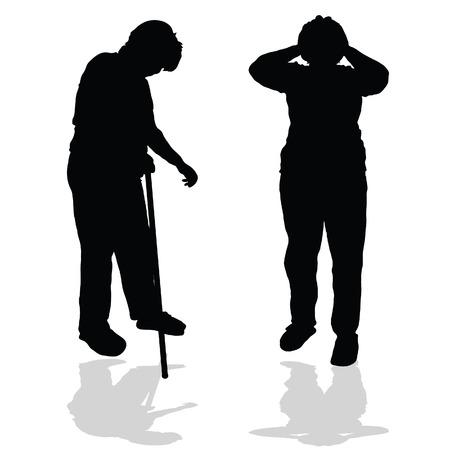 woman shadow: sick old woman black silhouette illustration on white