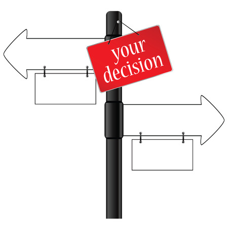 which: sign and your decision which way illustration
