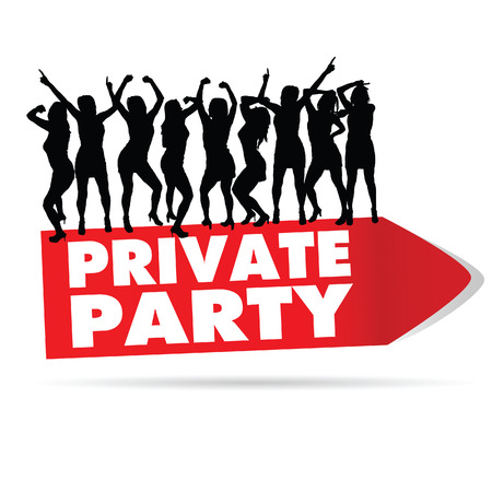 private party: sign for private party with girl silhouette vector