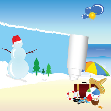 snowman and beach stuff vector illustration Vector